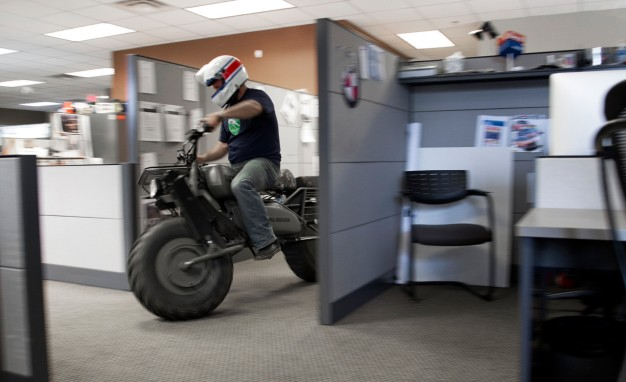 motorcycle in office