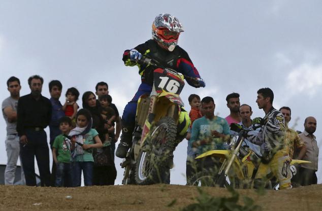 Behnaz Shafiei rides her motocross bike