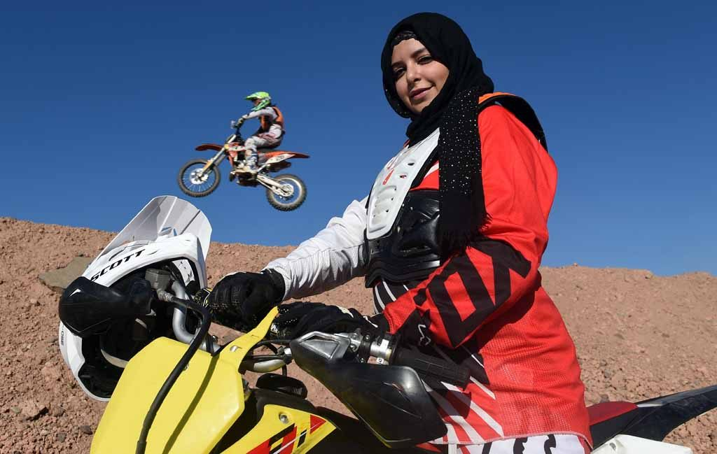 Camelia Mentak, a Moroccan cross-biker and stylist poses
