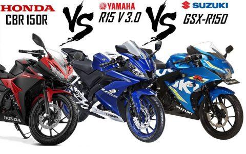 Honda CBR 150R vs Yamaha R15 V3.0 vs Suzuki GSX-R150