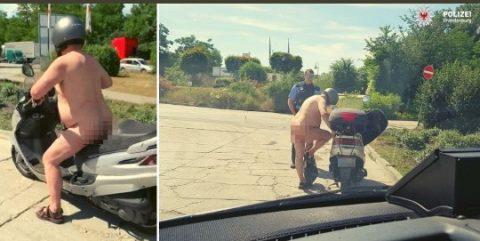 Çıplak moped sürücüsü yakalandı