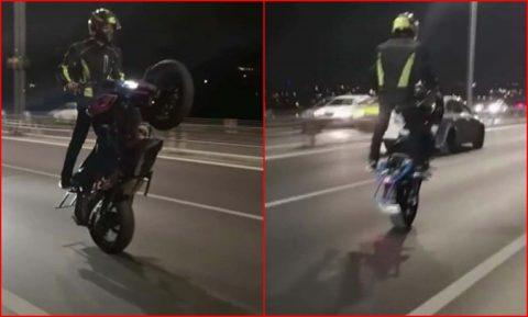 Boğaz köprüsünden tek tekerle geçen motosikletli kameralara yakalandı