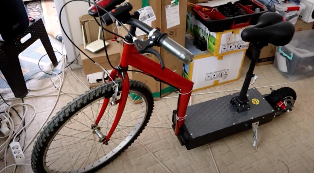 bisikleti scootera dönüştürdü